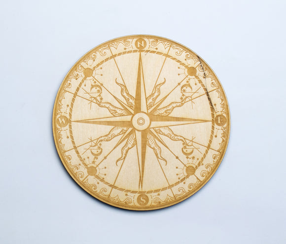 Compass Birch Wood Crystal Grid