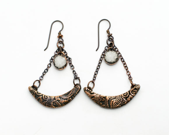 Filigree Crescent Moon Dangle Earrings with Geode Cluster