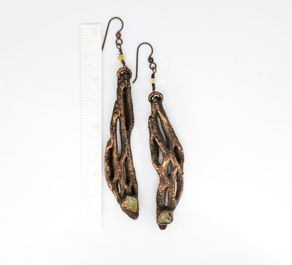 Cholla Cactus with Citrine Earrings, hangs from ear wire 3 3/8 and 3 3/4 inches