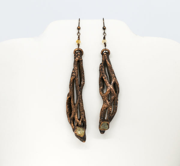 Cholla Cactus with Citrine Earrings Boho Gothic - The Wacky Wanderers