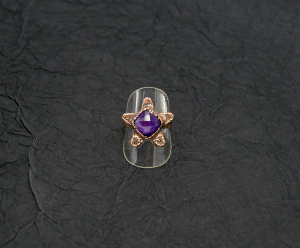 Star Ring with Faceted Amethyst Size 8-1/2 Boho Gothic - The Wacky Wanderers