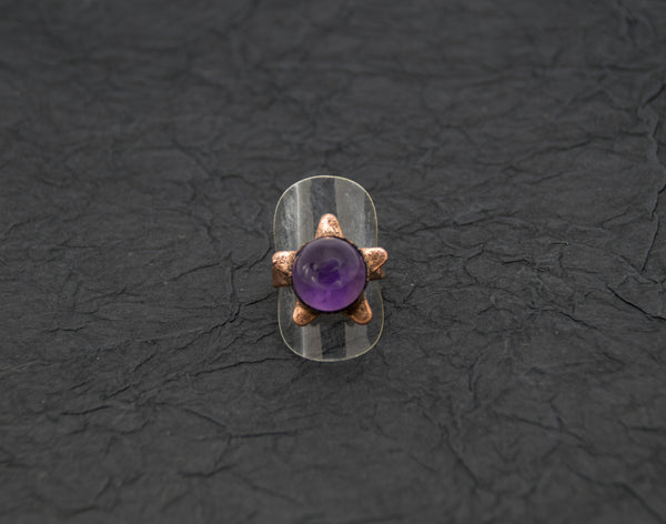 Star with Amethyst Sphere Center Ring Size 9 Boho Gothic - The Wacky Wanderers