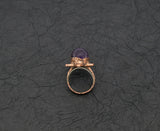 Star with Amethyst Sphere Center Ring Size 9 Boho Gothic, profile is 1/2 inch high