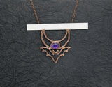 Crescent Moon and Bat with Amethyst Pendant is 2 1/8 x  2 1/2 inches