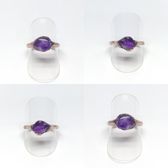 Polished Amethyst Nugget Rings