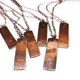 Crescent Moon Hand Stamped Copper Strip Necklace