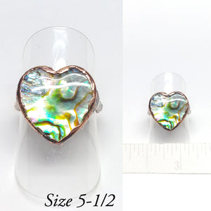 Paua Shell Heart Ring