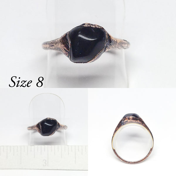 Polished Black Obsidian Rings