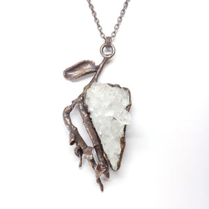 Crystal Cluster with Branch Pendant