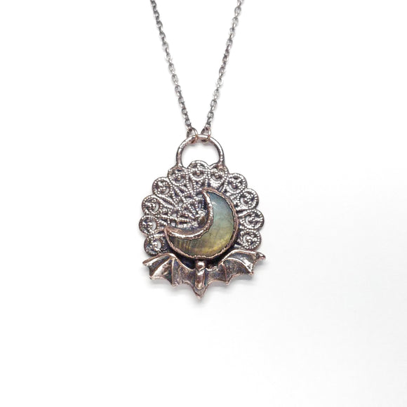 Bat Under the Labradorite Moon Filigree Pendant