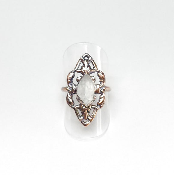 Filigree Ring w/ Herkimer Diamond Size 6-1/2