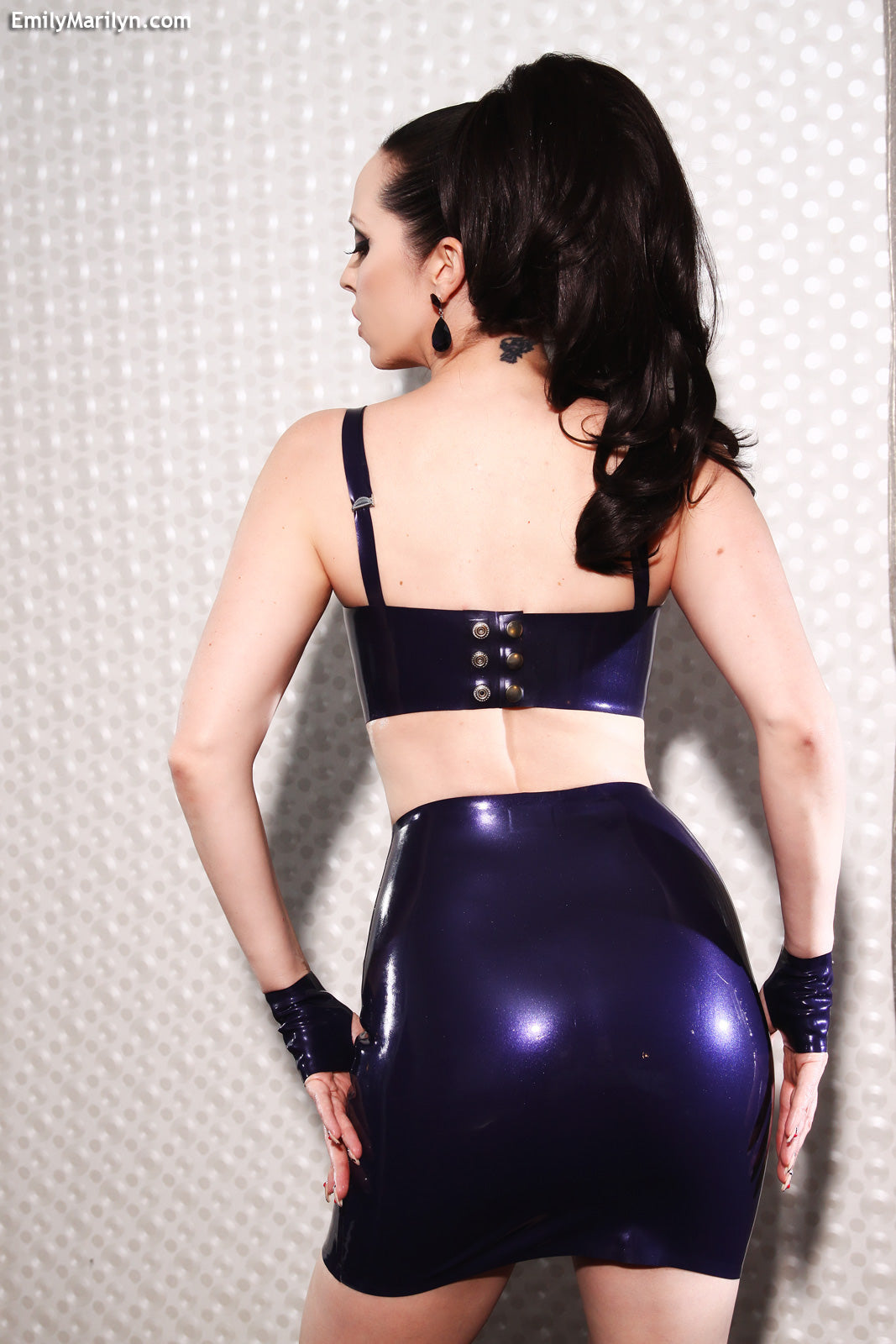 Latex studded mini skirt