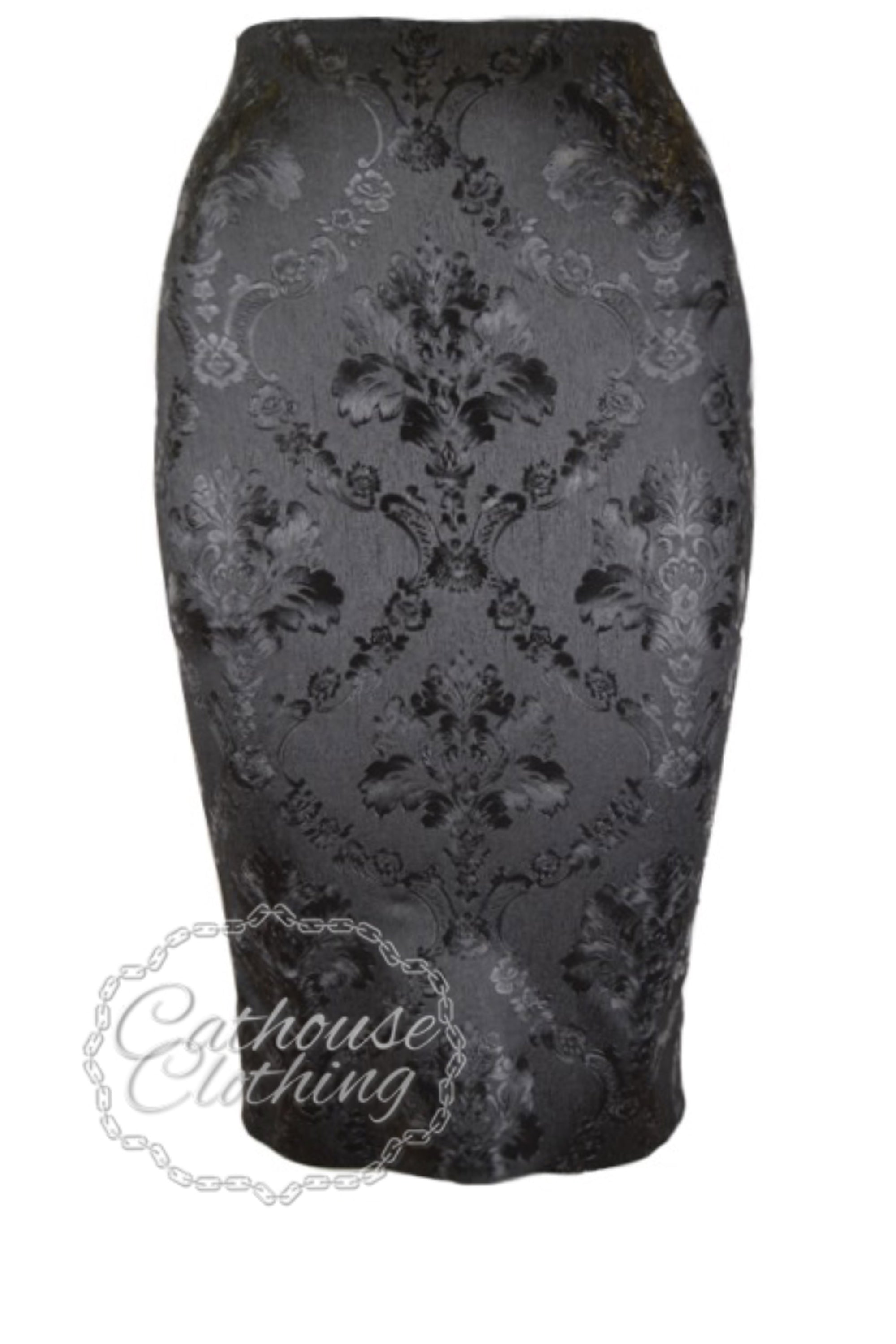 Baroque latex pencil skirt