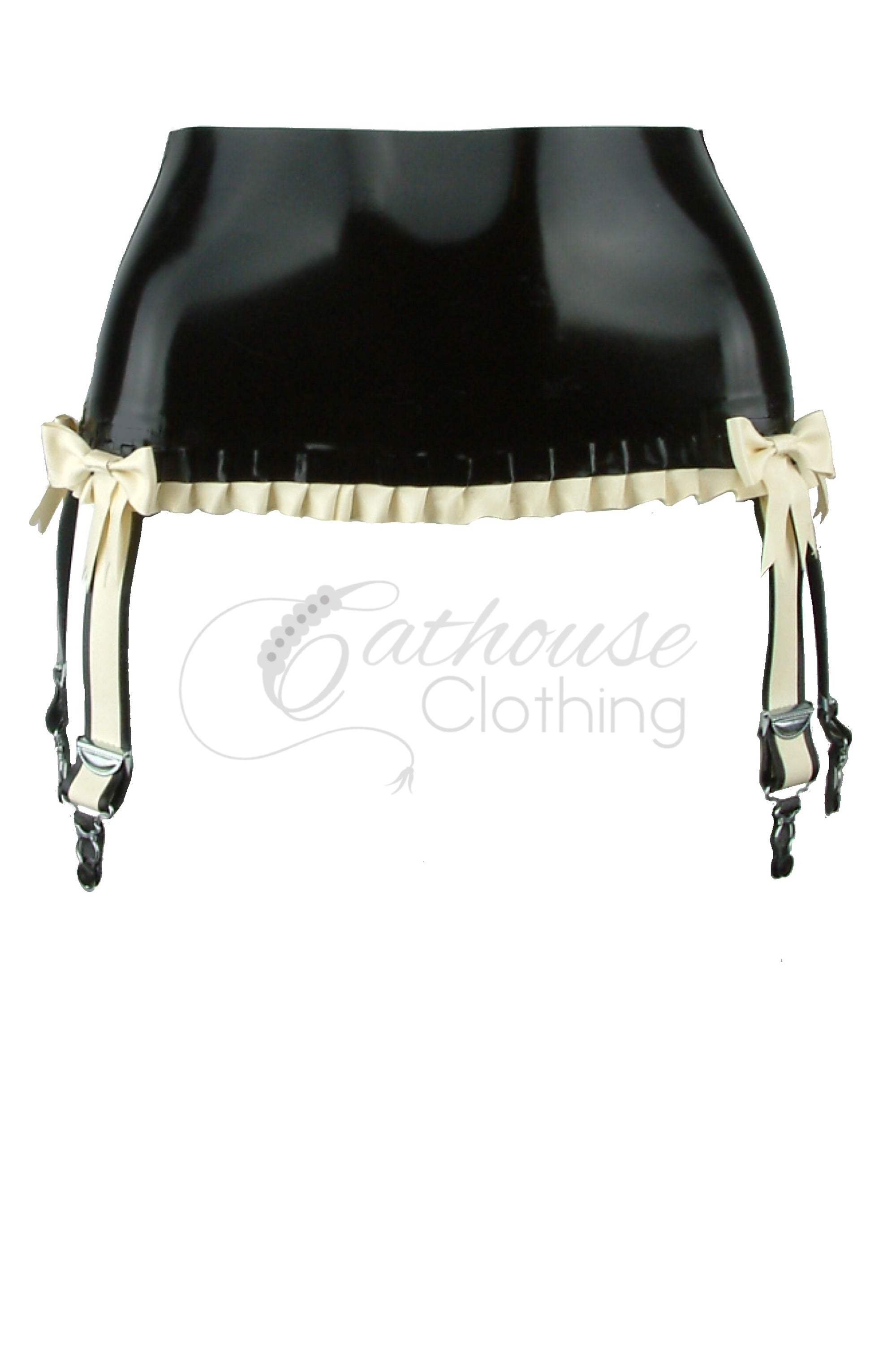 Latex Victoria frill bow suspender belt