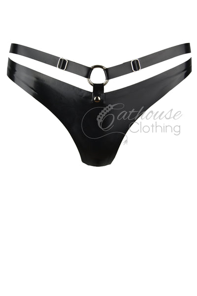 Latex strap thong