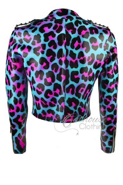 Latex cheetah print biker jacket