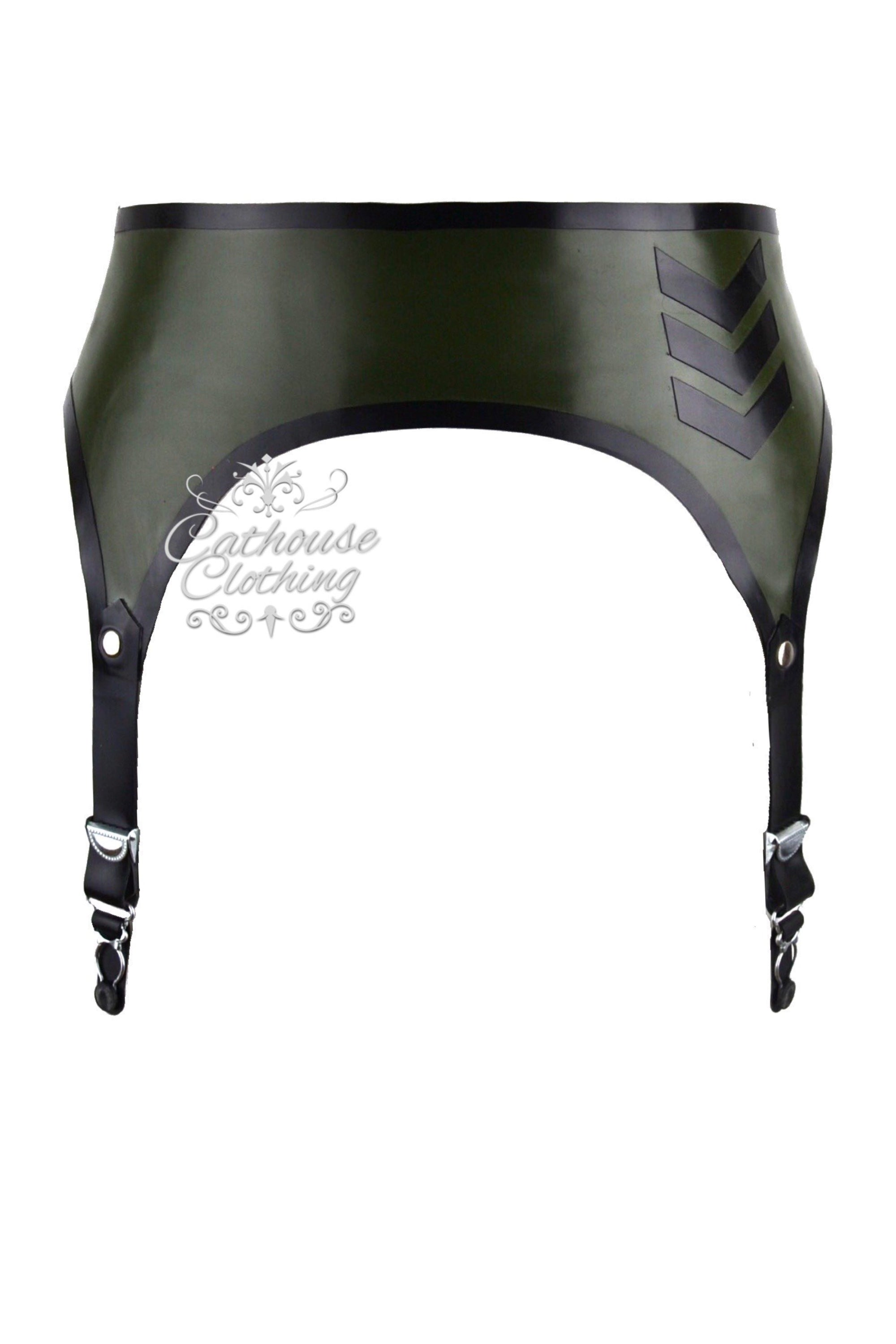 Latex military suspender belt