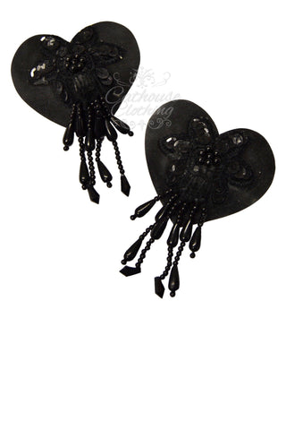 Latex heart beaded nipple pasties