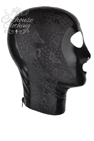 Latex black butterfly hood