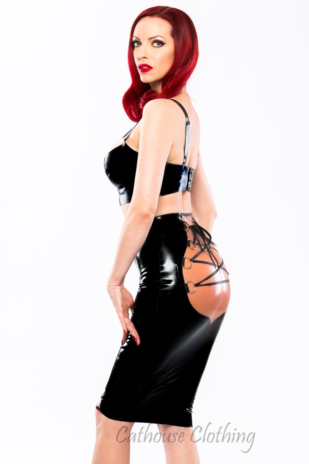 Latex cheeky laced skirt