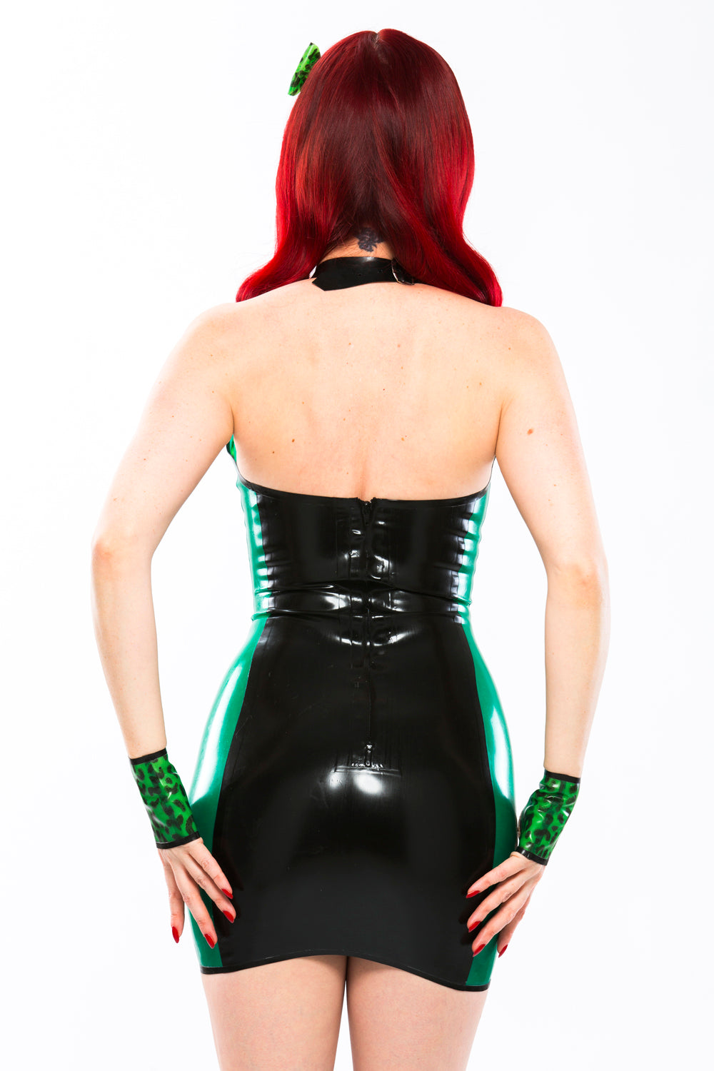 Latex BabyLeopard stud dress