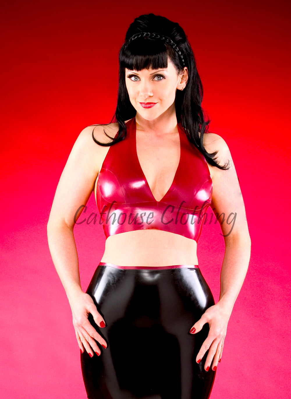 Latex halterneck bra top