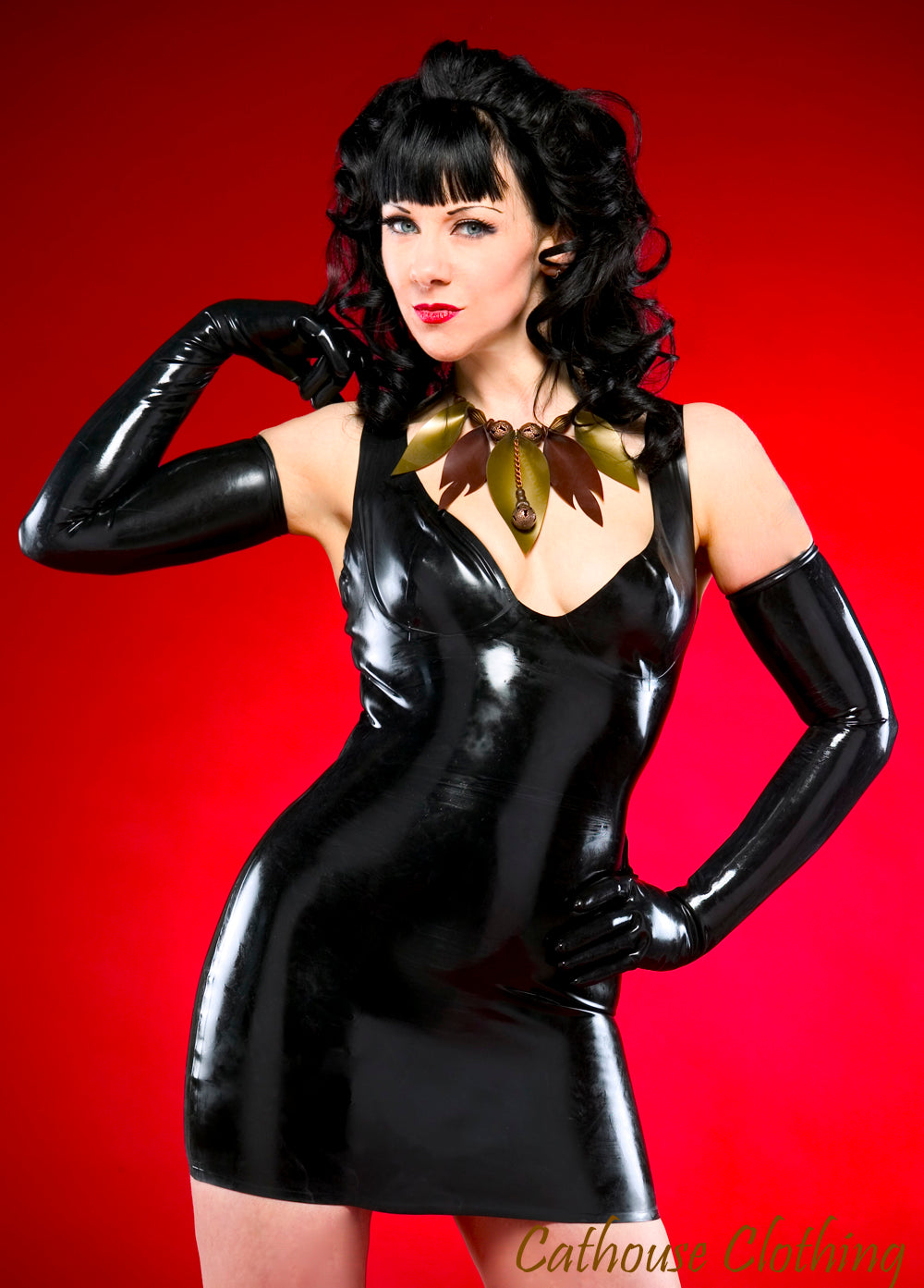 Latex basic cup dress