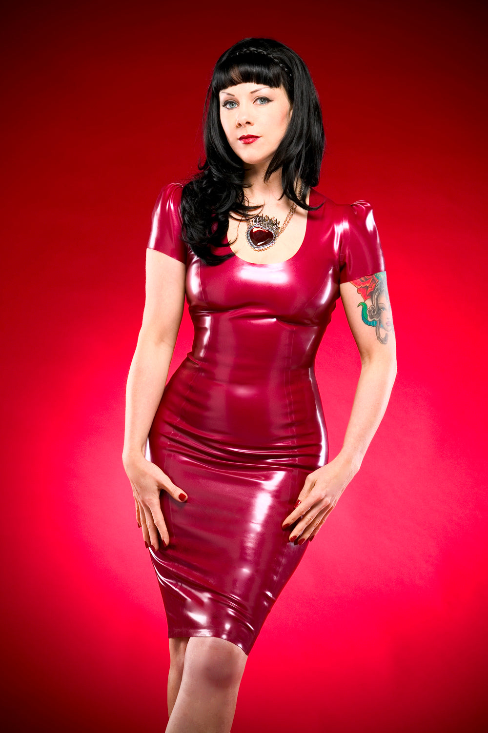 Latex laced back pencil dress