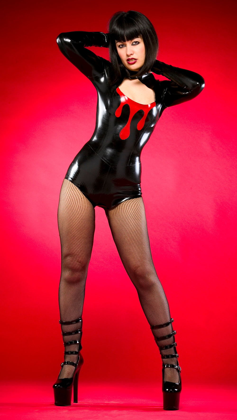 Latex dripping blood playsuit