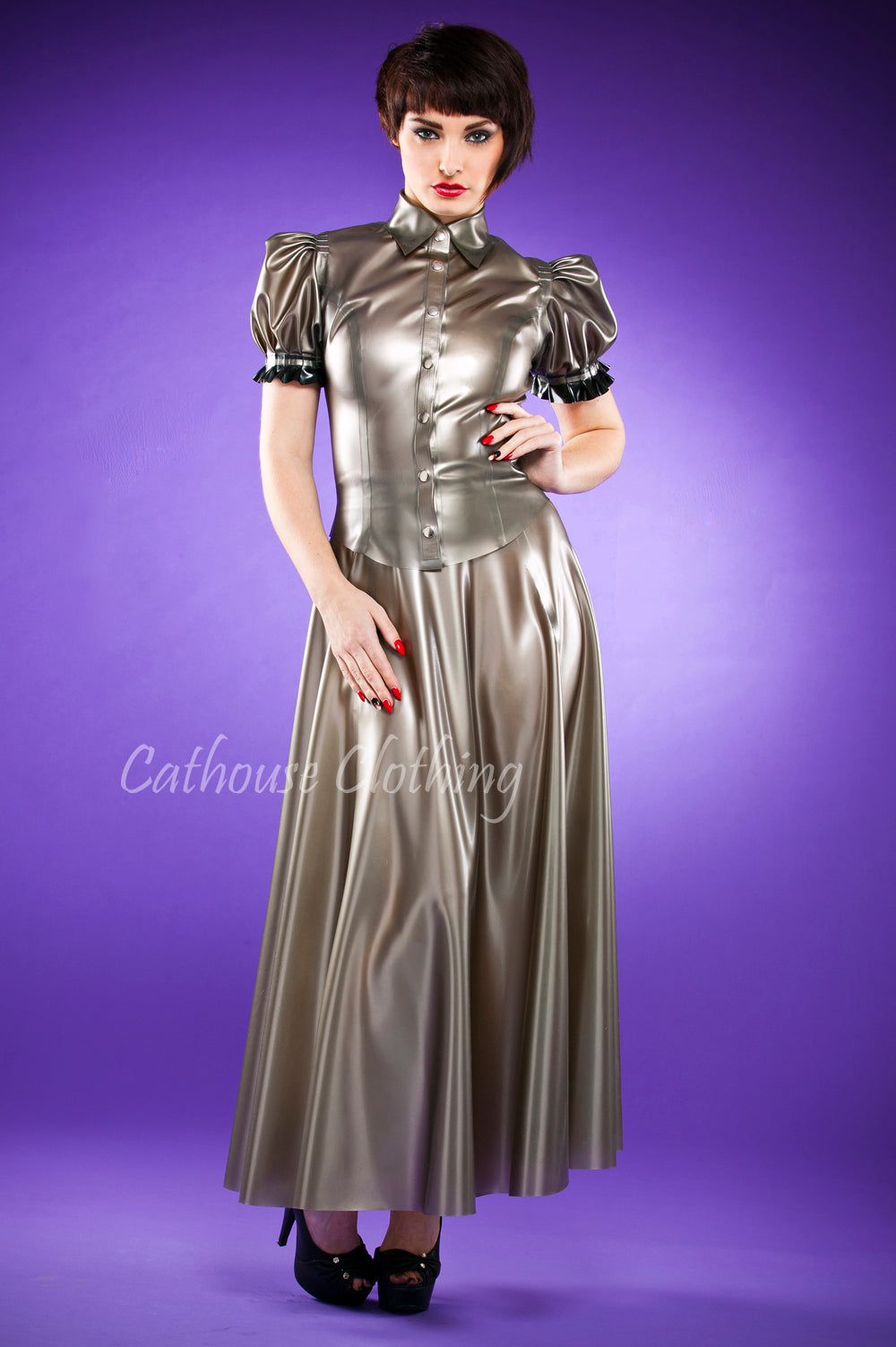 Latex long flared skirt