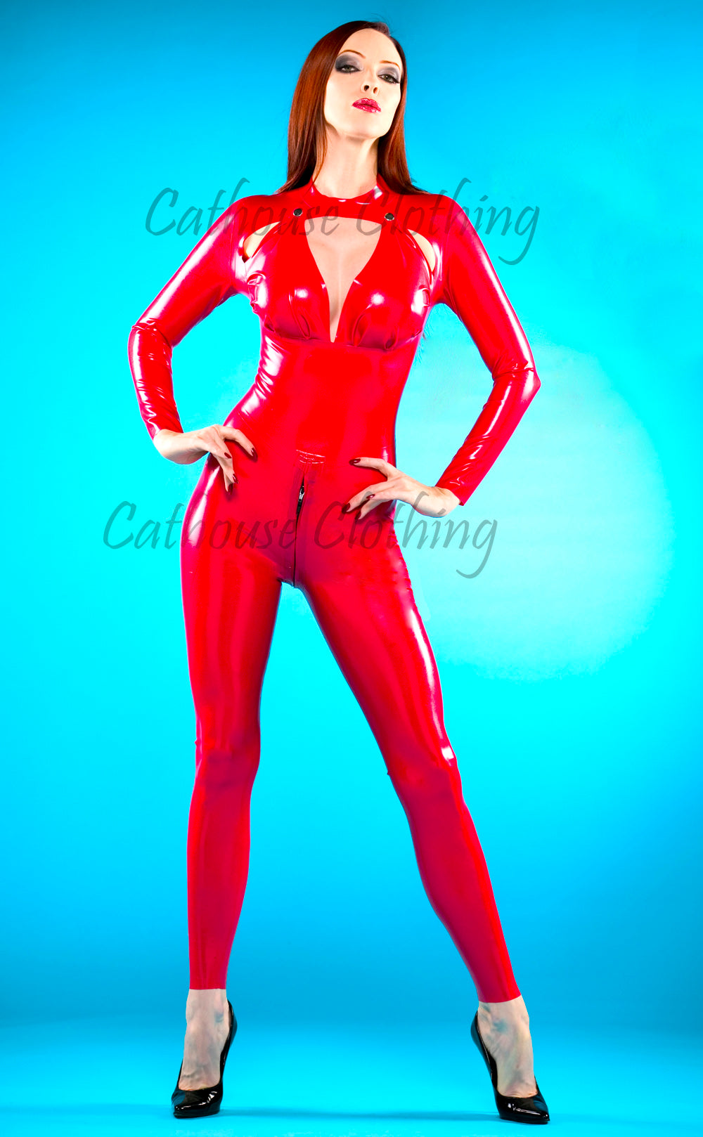 Latex pop-open catsuit