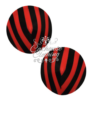 Latex stripe nipple pasties