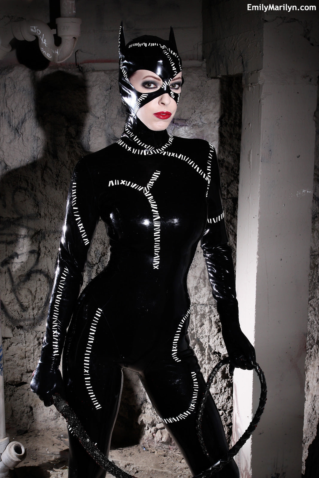 Latex Cat woman hood