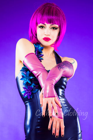 Long latex fingerless gloves