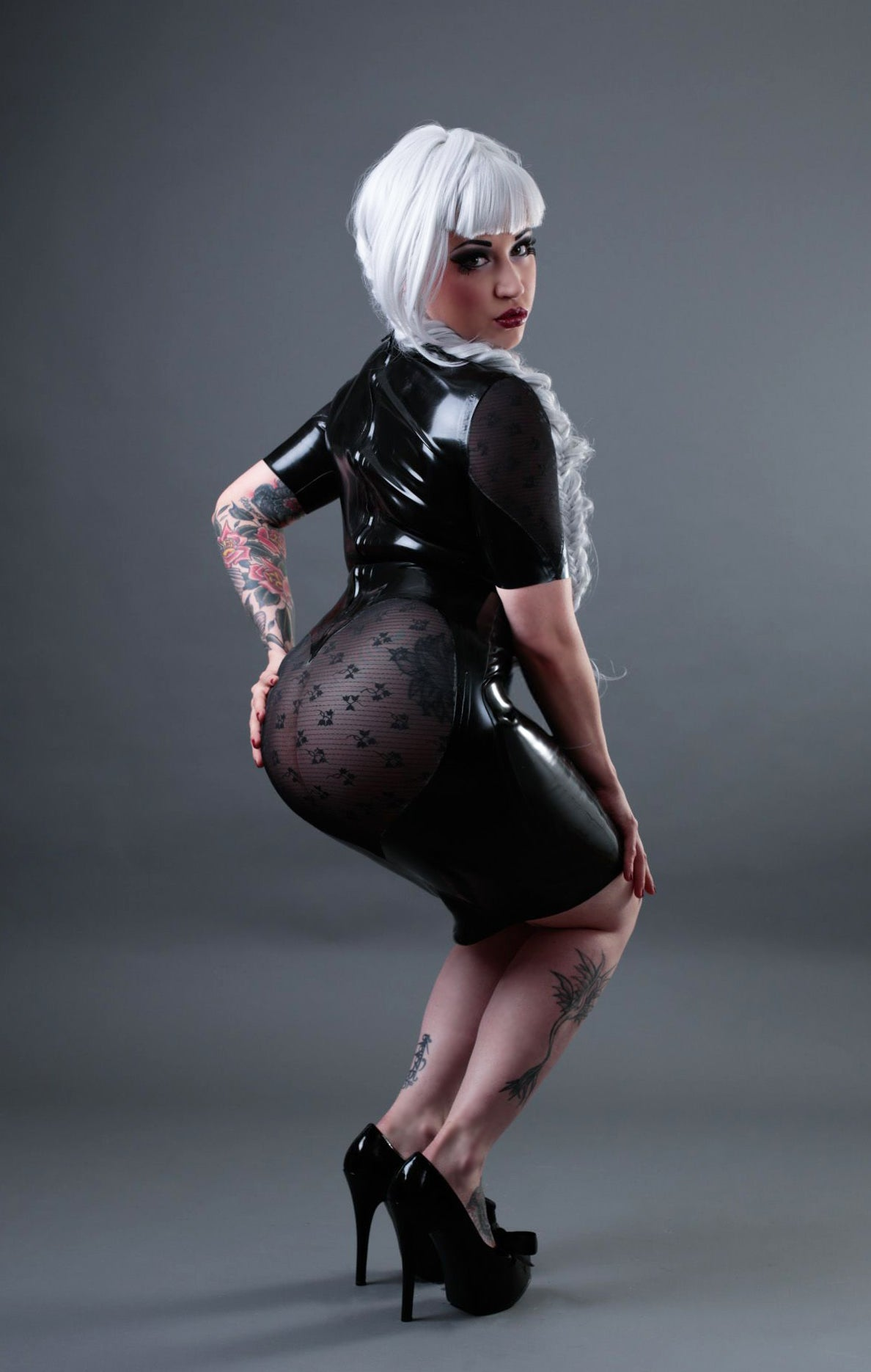 Latex powermesh heart dress