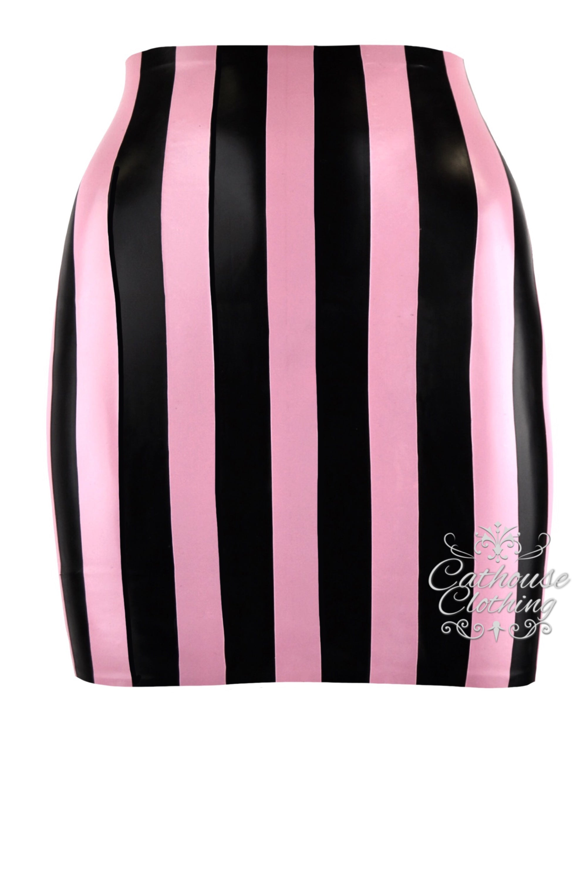 Latex stripe mini skirt