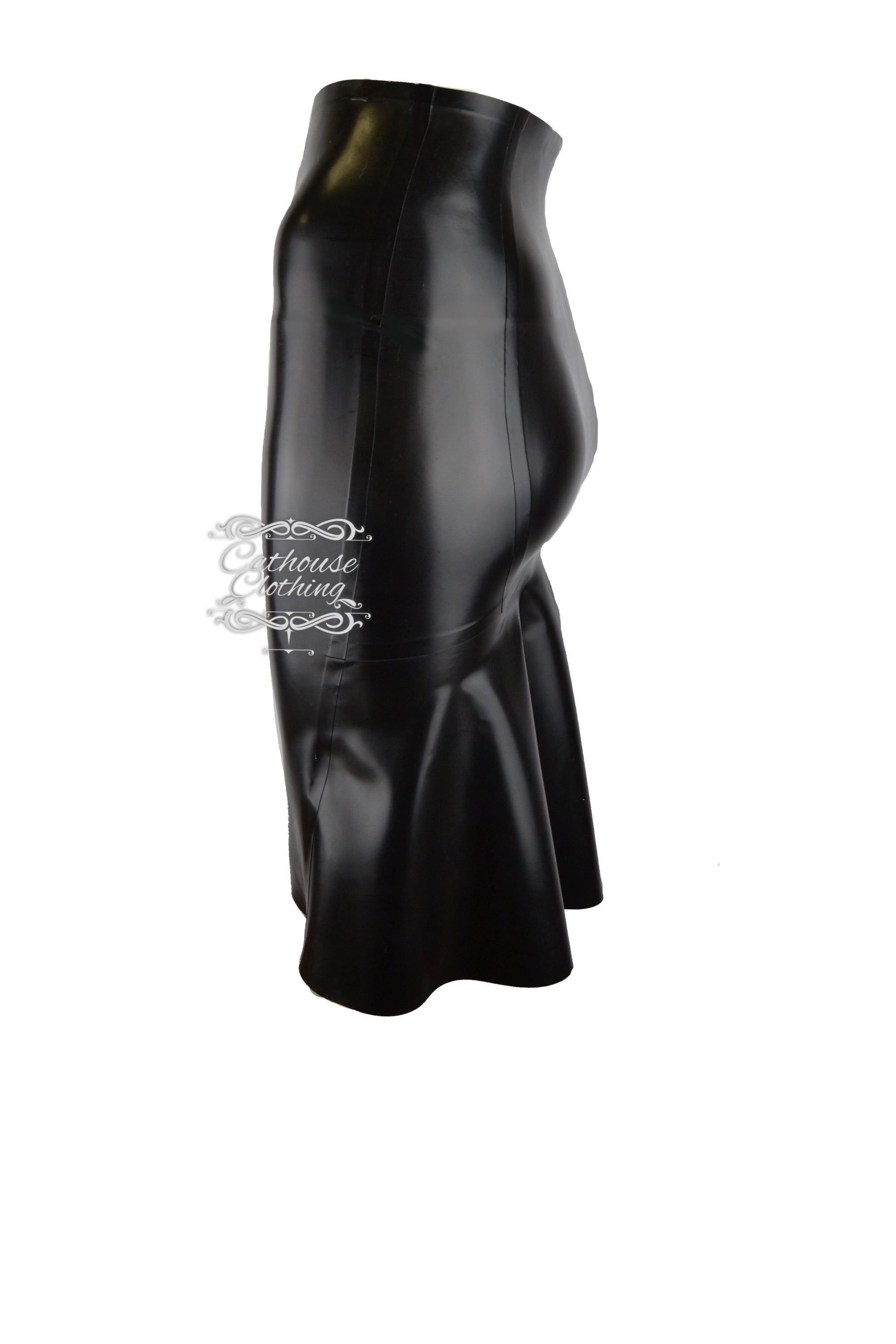 Latex kick-back skirt