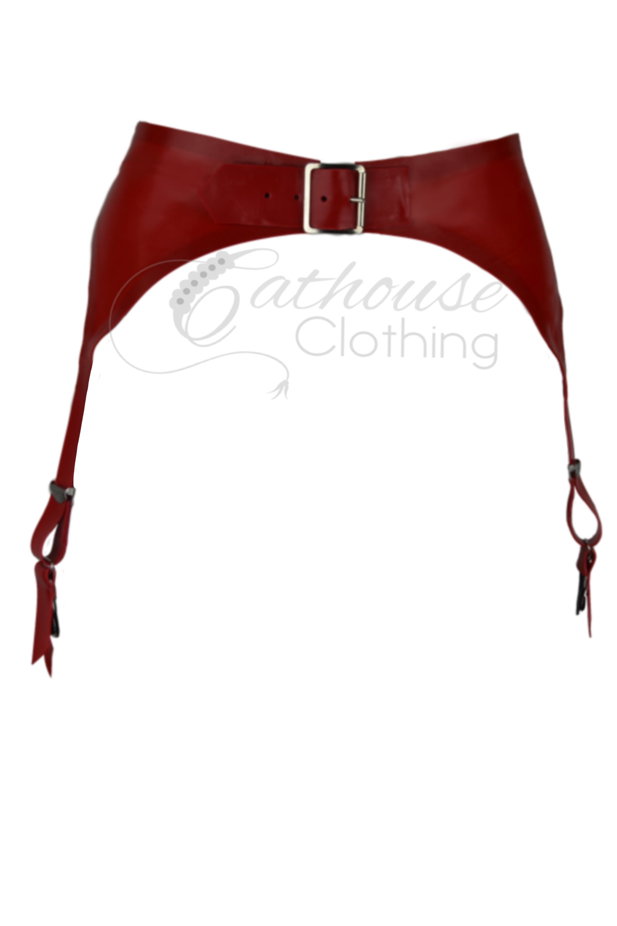 Latex lace Ruby suspender belt