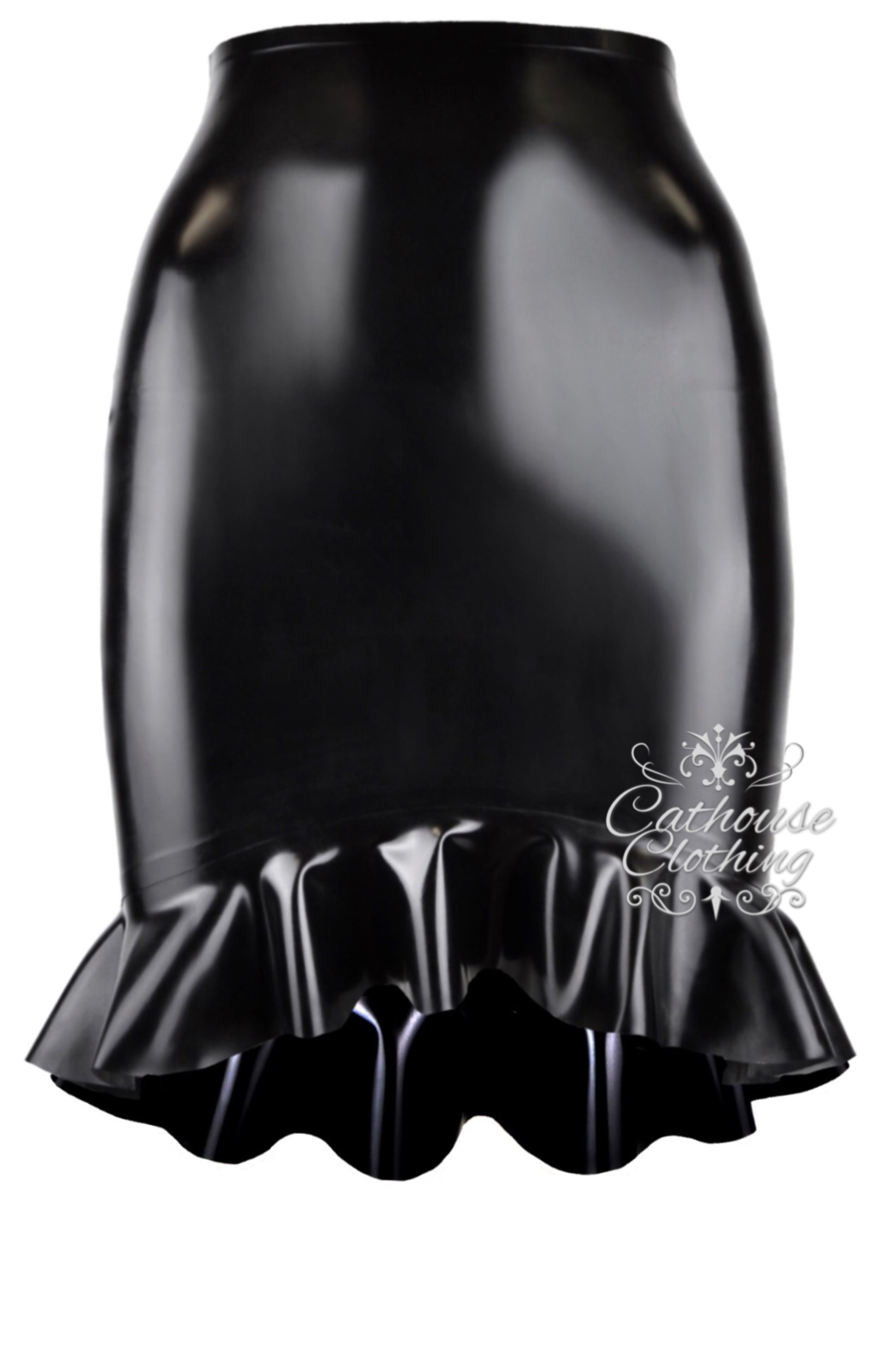 Latex ruffle hem mini skirt