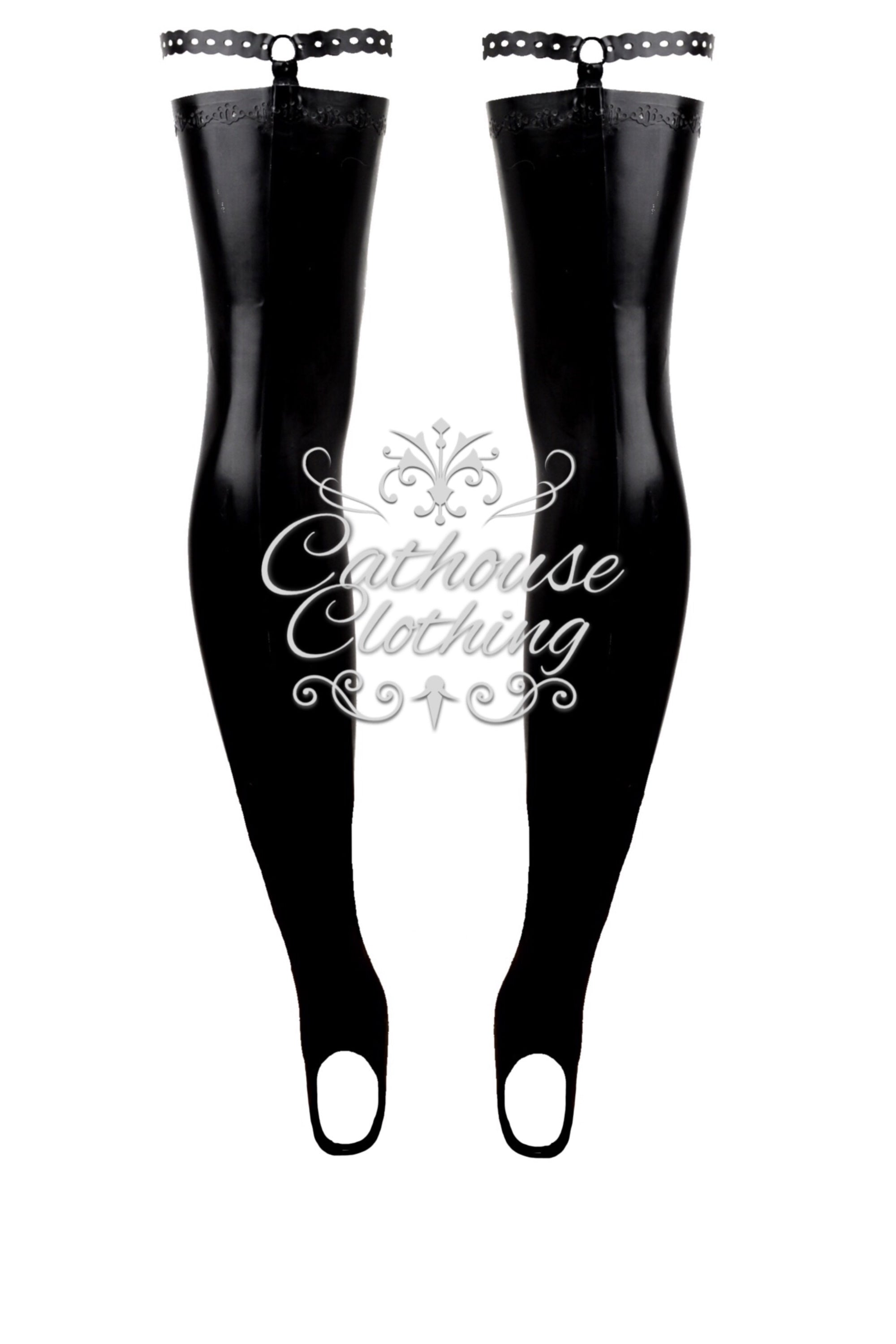 Latex Anika strap stockings