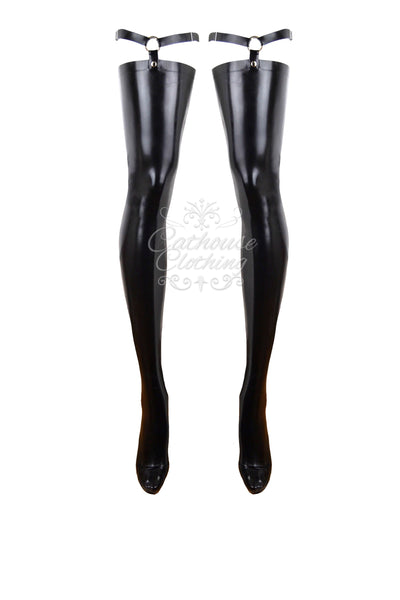 Latex Goddess strap stockings