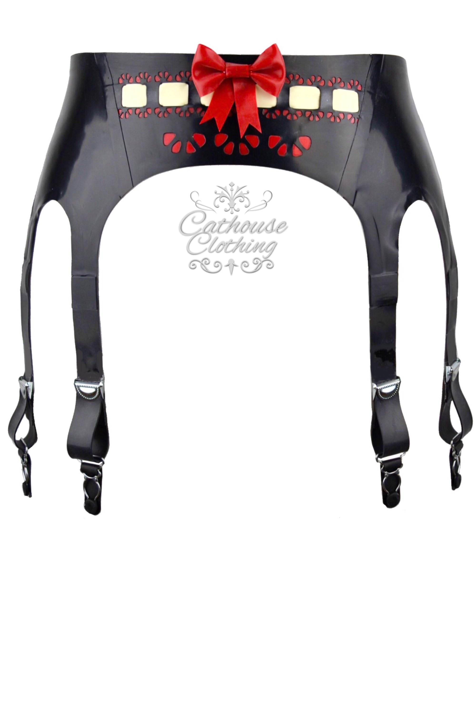 Latex ribbon-laced suspender belt