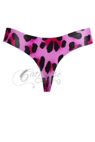 Cheetah latex strap thong