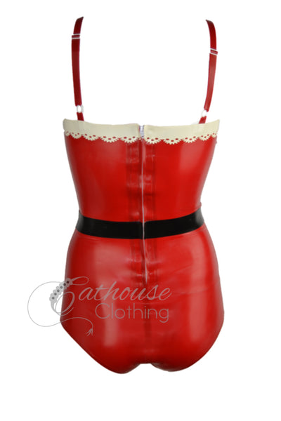 'Santa baby' latex playsuit