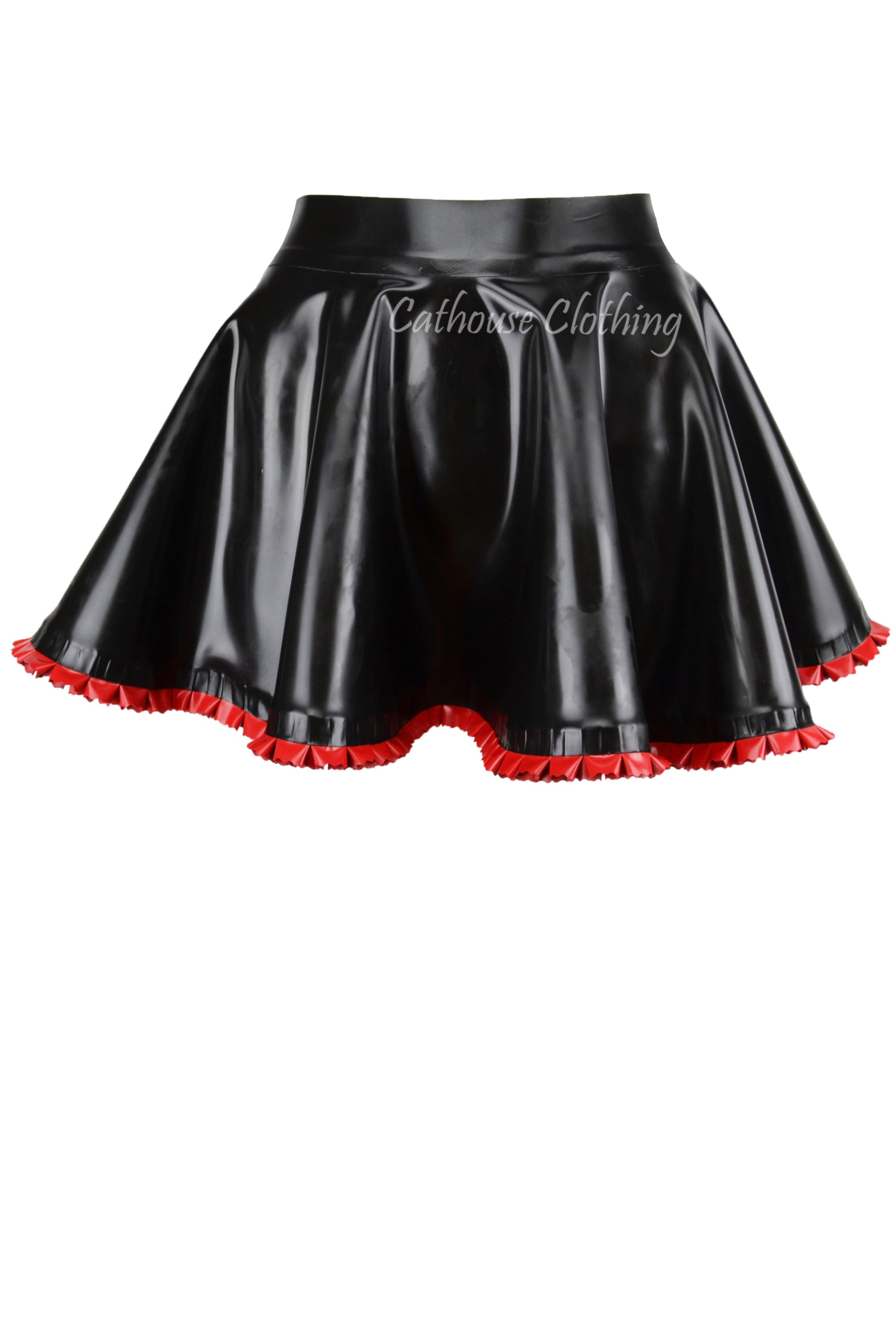 Latex frilled skating skirt