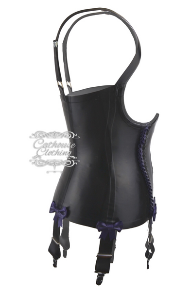 Latex topless frilled basque