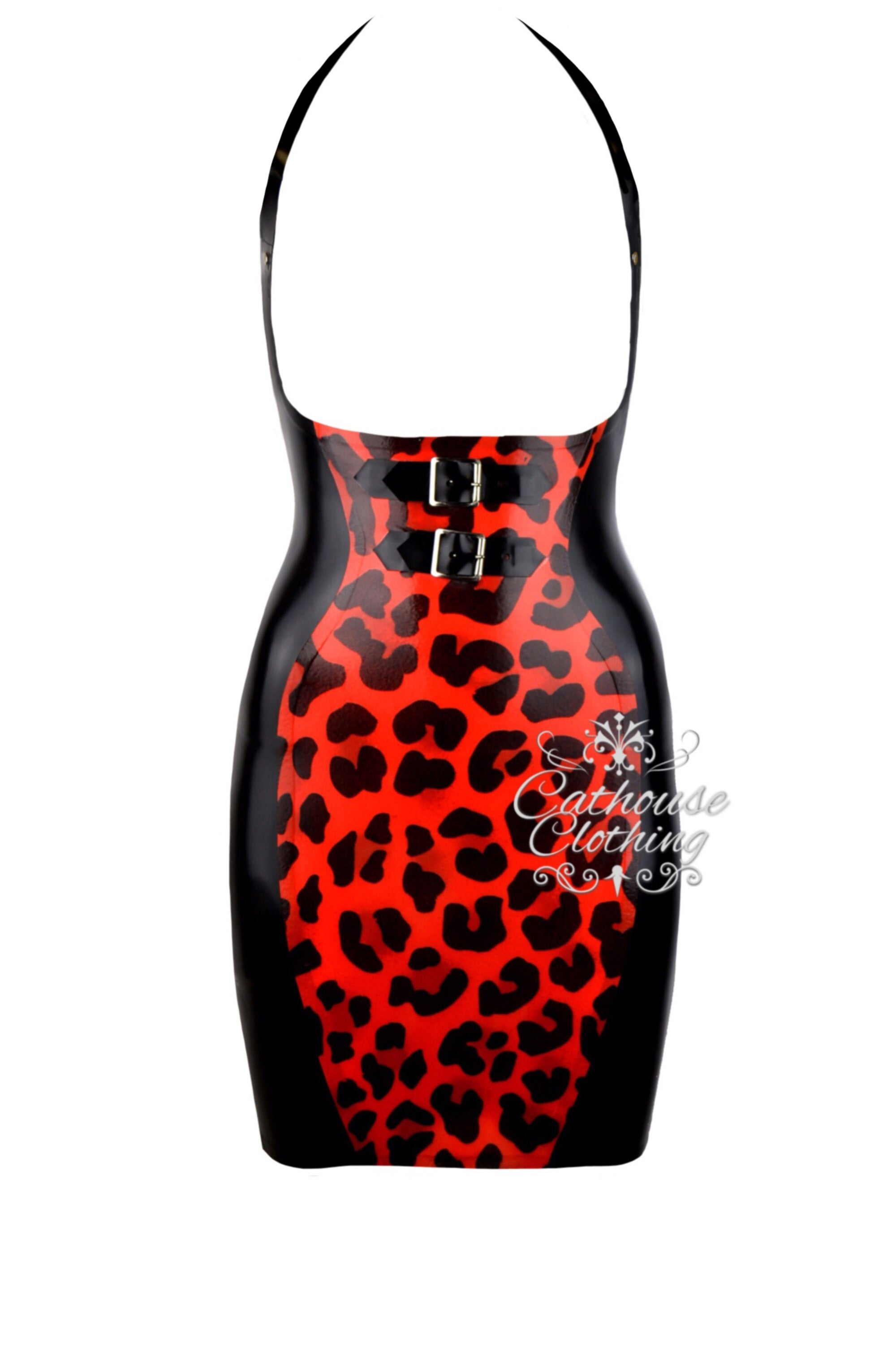 Latex topless cheetah dress