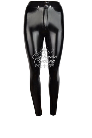 Latex skinny-fit jeans
