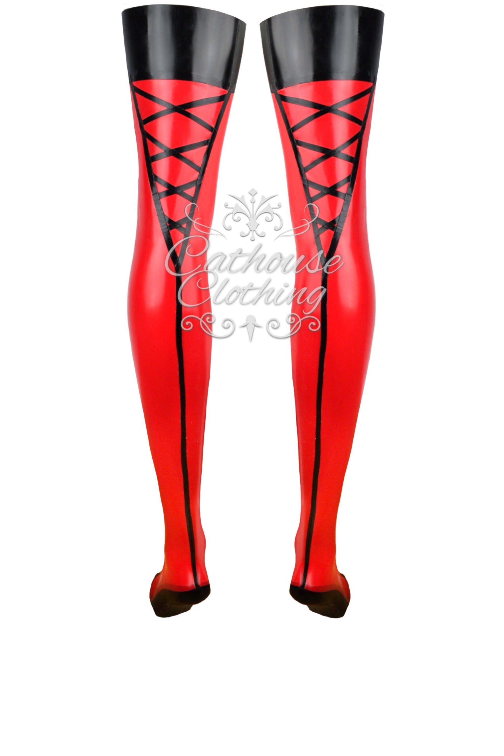 Ultra-fine latex criss-cross stockings