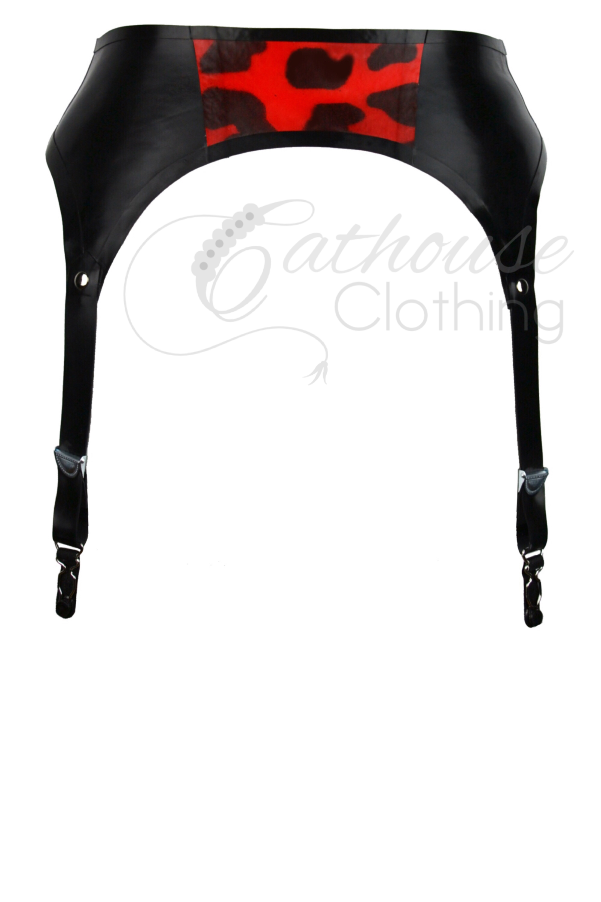 Cheetah latex zip suspender belt